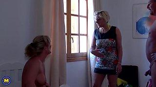 Happy German family threesome with Debbie n Teresa