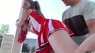 Lovely cheerleader Elena Koshka thirsts to ride strong cock on top