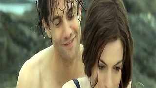Anne Hathaway first showing cleavage in lingerie, than we