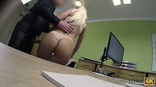 Seeking for a loan big breasted blondie Blanche gets fucked missionary
