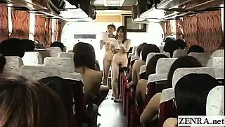 Subtitled nudist Japanese AV stars bus game ice breaker