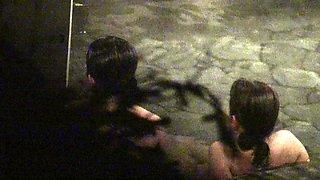 Kinky voyeur watches beautiful Oriental girls taking a bath