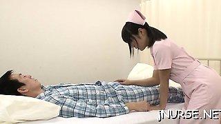 Stunning nurse rides patient's big weenie passionately