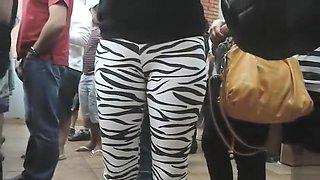 Public cameltoe in skintight zebra pants
