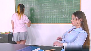 Busty Teacher Fucks Female Student In Class With A Strapon