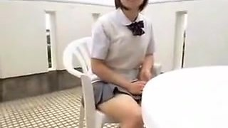 Enchanting schoolgirl worships a hard dick and takes a mout