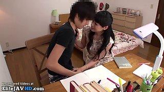 Japanese home teacher rewards a shy student