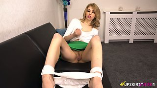 Svelte and quite leggy light haired nympho Eva exposes her nice shaved cunt