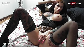 Busty tattooed MILF enjoys a fat cock