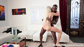 Muscular black guy with a big cock fucking a slutty white blonde bitch
