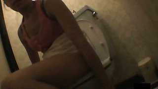 Hairy Pussy Masturbating In Toilet Room
