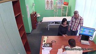 doctor bangs wife while husband waits