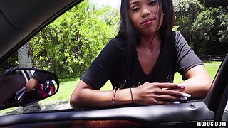 Tiffany is an ebony skinny babe who wants to fuck in a car