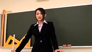 Slutty Oriental teacher gets pounded hard in the classroom