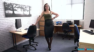 Whorish secretary Charlie Rose strips and dances in the office