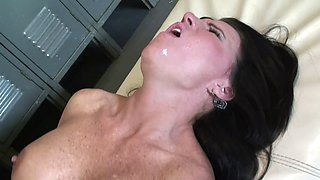 Fake tits Kendra taking shower then pounded hardcore
