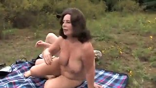 son fucks mom in nature