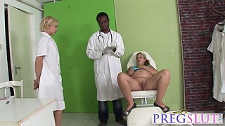 A pregnant wife is at doctor and instead of treat she gets involved into threesome with an black stud