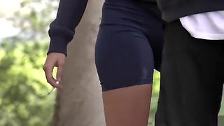 Girl in the skintight sporty shorts has a sexy cameltoe
