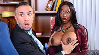 Busty secretary seduces her boss and gets tit fucked and screwed