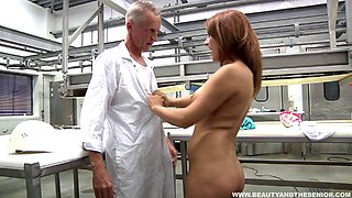 Factory worker takes a break to fuck her horny old boss