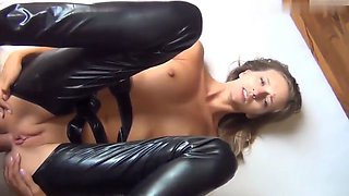 Brunette In Latex Lingerie Ass Fucked & Creampie