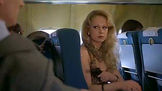 Depraved and super hot blonde babe with big titties on the plane