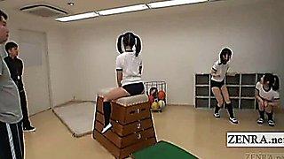 Subtitled Japanese schoolgirls gym class butt training
