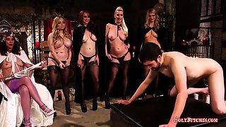 Nasty mistresses punish sissy guy