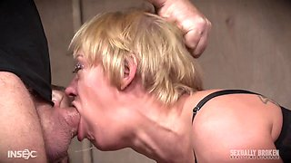 Horny kinky submissive blonde MILF Dee Williams abused by two guys