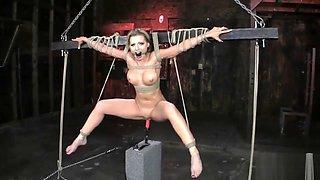 athena angel suspended over fucking machine