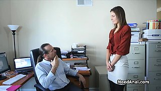 Secretary's ass licked and fucked by boss
