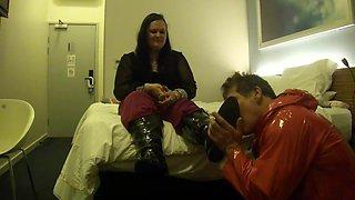 BBW Mistress Lydia's Slave Licks Clean PVC Knee Boot & Foot