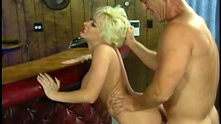 Radiant blonde doll giving a stimulating tit job after getting screwed hardcore