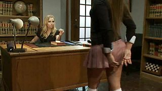 Brunette School Girl Gets Disciplined By Her Blonde Head Master