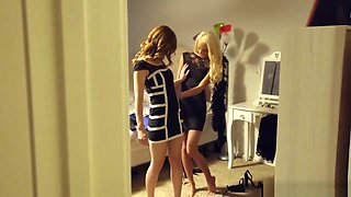 Hot sisters fuck their pervy brother during new year's eve