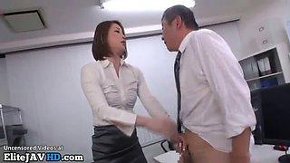 japanese secretary satisfies old man