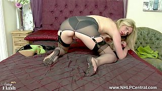 blonde slut pussy play in retro lingerie nylons high heels