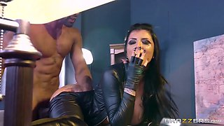 Big boobed brunette babe in latex sex suit enjoys giant black dick
