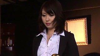 Hottest Japanese chick Mona Asamiya in Exotic DP/Futa-ana, Stockings/Pansuto JAV scene