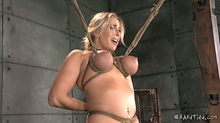 Bound busty blondie Angel Allwood had hard BDSM session with black dude Jack Hammer