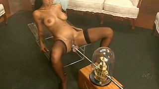 Spectacular Ebony Babe Getting Her Shaved Pussy Fucked by Device