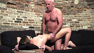 Grandpa gets cock sucked and wet beautiful little girl