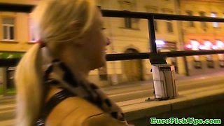 Real blonde amateur picked up flashing