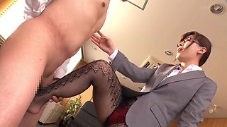 Kaho Kasumi wearing sexy pantyhose and playing with a boner