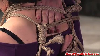 busty bdsm sub tied up and toyed by maledom