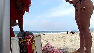 Brazilian Wife with Tiny Bikini at the Beach