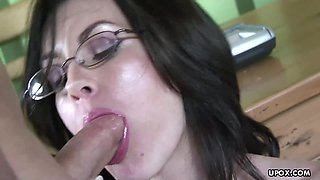 Busty brunette in glasses and heels got her cunt destroyed