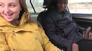 Teen needs a lift to school and she sucks black cock for it