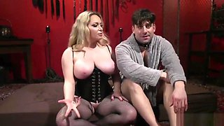 Bigtitted mistress playing with her slave boy